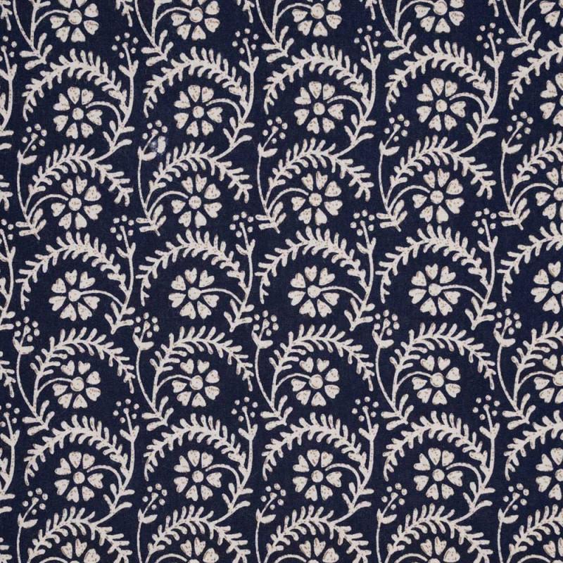 Tissu viscose bleu motif fleuri blanc et tabac - pretty mercerie - mercerie en ligne