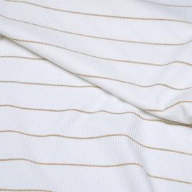 Tissu jersey côtelé blanc et liseré or x 10cm