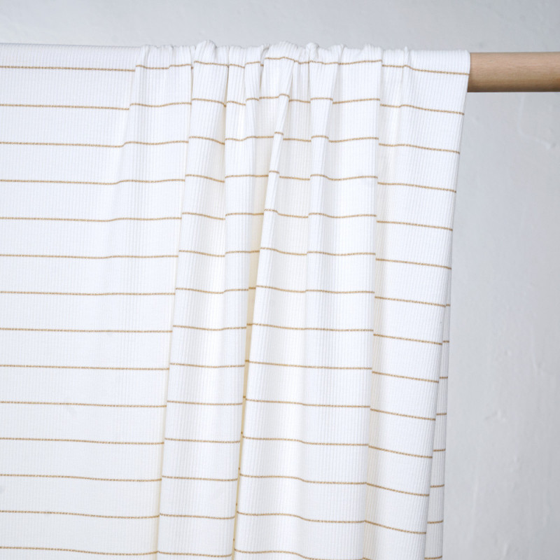 Tissu jersey côtelé blanc et liseré or - pretty mercerie - mercerie en ligne