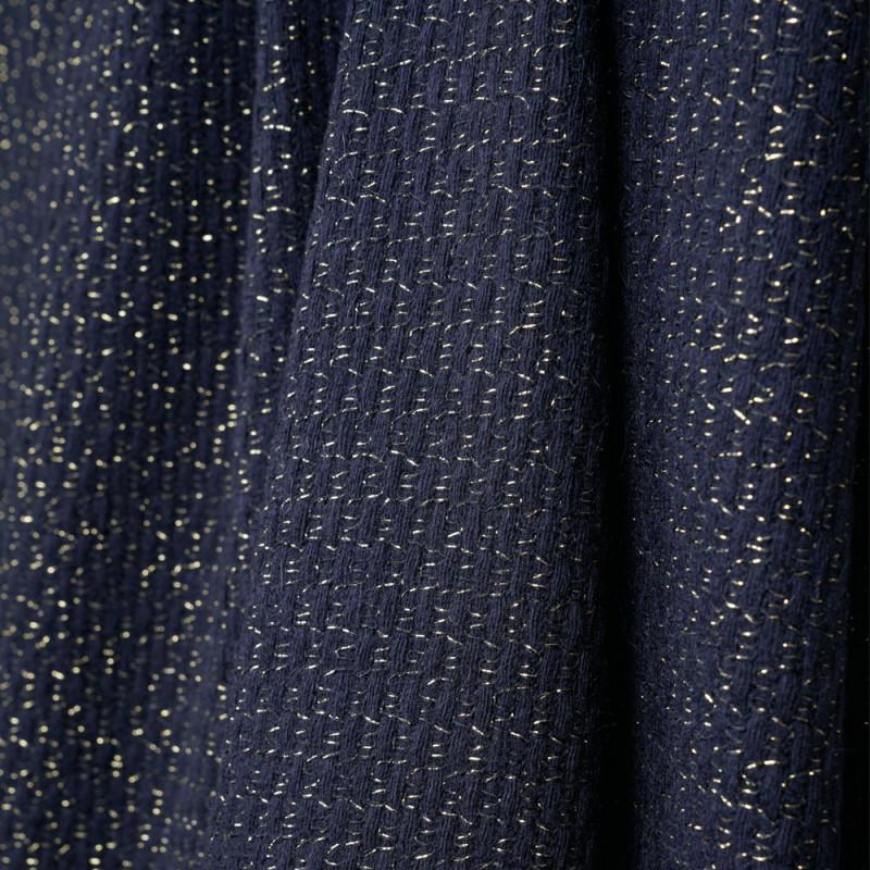 tissu lainage tricoté bleu et fil lurex or - pretty mercerie - mercerie en ligne