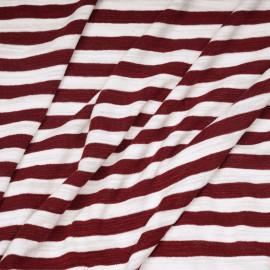 tissu coton maille marinière blanc et bordeaux x 10cm