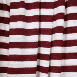 tissu coton maille marinière blanc et bordeaux - pretty mercerie - mercerie en ligne
