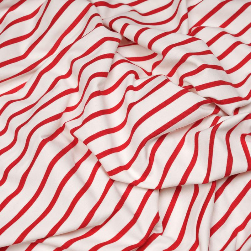 tissu coton jersey marinière blanc et rouge - pretty mercerie - mercerie en ligne