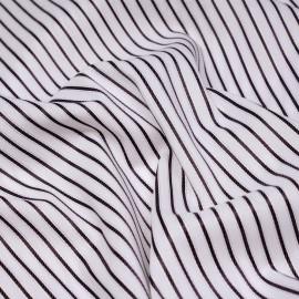 Tissu coton blanc à motifs tissés rayures torssadées indigo et fil lurex or  X 10 CM