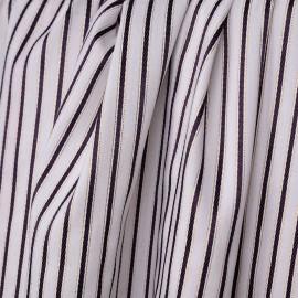 Tissu coton blanc à motifs tissés rayures torssadées indigo et fil lurex or - pretty mercerie - mercerie en ligne