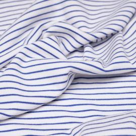 tissu coton jersey marinière blanc et bleu marina - pretty mercerie - mercerie en ligne