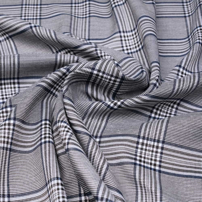 Tissu Prince de Galles noir, blanc et bleu x 10 cm