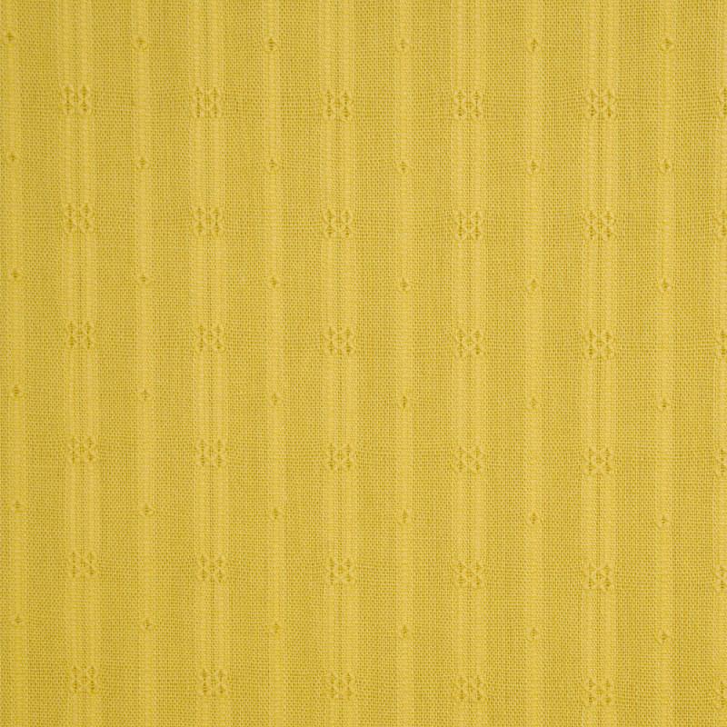 Tissu coton jaune sunshine à rayures et motifs brodés - pretty mercerie - mercerie en ligne