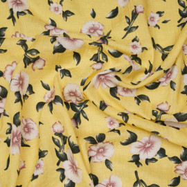 Tissu coton et viscose jaune sunshine à motif fleuri x 10cm