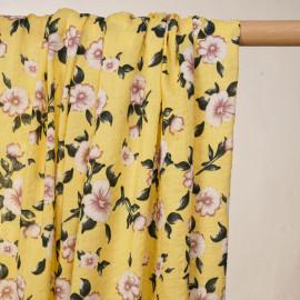 Tissu coton et viscose jaune sunshine à motif fleuri - pretty mercerie - mercerie en ligne