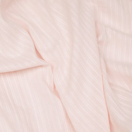 Tissu coton primrose à rayures et motifs brodés x 10cm