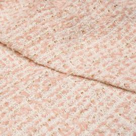 Tissu tweed blanc, rose poudré et lurex or x 10 CM