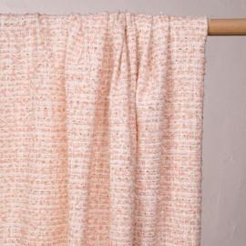 Tissu tweed blanc, rose poudré et lurex or - pretty mercerie - mercerie en ligne