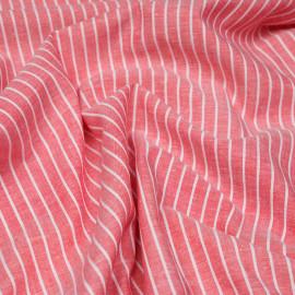 Tissu oxford coton et lin rouge à rayures blanches x 10cm