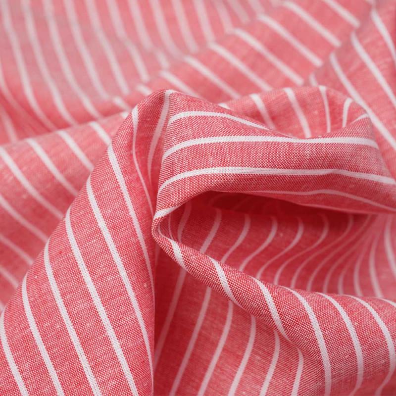 Tissu oxford coton et lin rouge à rayures blanches - pretty mercerie - mercerie en ligne