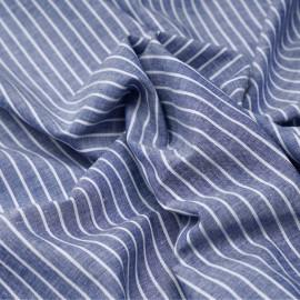 Tissu oxford coton et lin bleu foncé à rayures blanches x 10cm