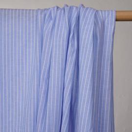 Tissu oxford coton et lin bleu ciel à rayures blanches -pretty mercerie - mercerie en ligne
