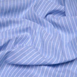 Tissu oxford coton et lin bleu ciel à rayures blanches x 10cm