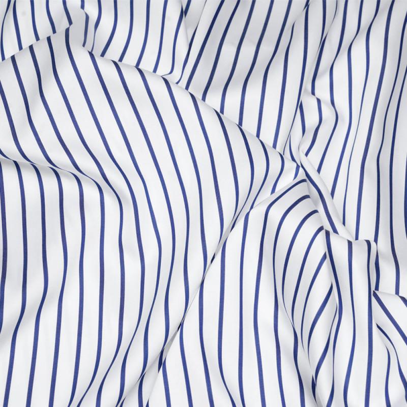 Tissu tencel et coton blanc à rayures bleus - pretty mercerie - mercerie en ligne
