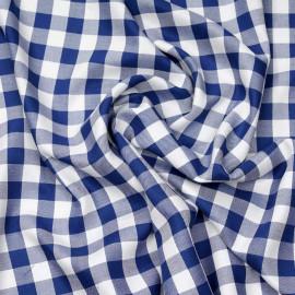 Tissu viscose sergé à motif vichy bleu et blanc x 10cm