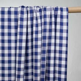 Tissu viscose sergé à motif vichy bleu et blanc - pretty mercerie - mercerie en ligne