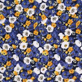 Tissu viscose bleu à fleurs blanches, jaunes et bleues - pretty mercerie - mercerie en ligne