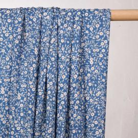 Tissu viscose bleu campanula à fleurs blanches et marigold  - pretty mercerie - mercerie en ligne