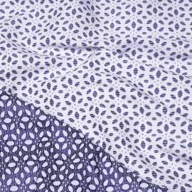 Tissu jacquard effet coton brodé blanc et bleu x 10 CM