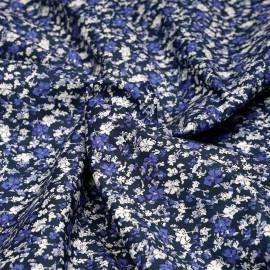 Tissu coton bleu nuit à motif fleurs bleues et blanches - pretty mercerie - mercerie en ligne