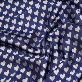 Tissu jacquard bleu mazarine à motif coeurs x 10 CM