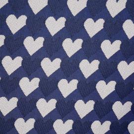 Tissu jacquard bleu mazarine à motif coeurs- pretty mercerie - mercerie en ligne