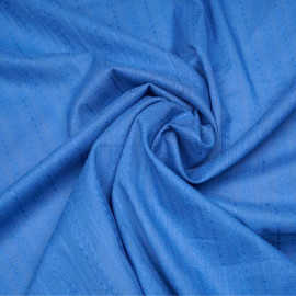 Tissu coton bleu regatta à rayures et motifs brodés x 10cm