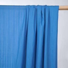 Tissu coton bleu regatta à rayures et motifs brodés - pretty mercerie - mercerie en ligne