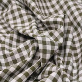 Tissu coton et lin blanc à motif tissé vichy 8mm olive  X 10 CM