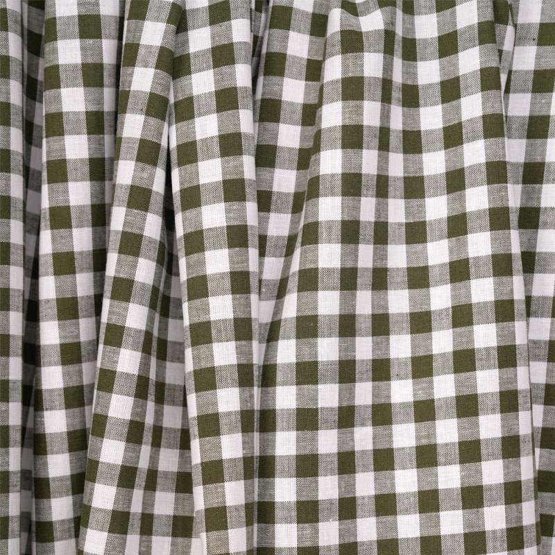 Tissu coton et lin blanc à motif tissé vichy 8mm olive - pretty mercerie - mercerie en ligne