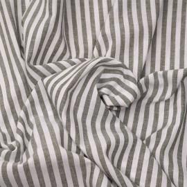 Tissu coton et lin blanc à motif tissées rayures 7 mm olive X 10 CM