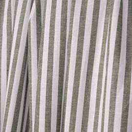 Tissu coton et lin blanc à motif tissées rayures 7 mm olive - pretty mercerie - mercerie en ligne