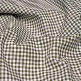 Tissu coton et lin blanc à motif tissé vichy 3mm olive X 10 CM