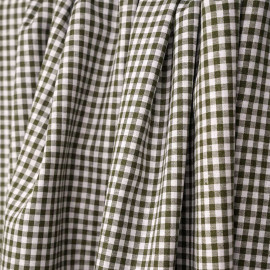 Tissu coton et lin blanc à motif tissé vichy 3mm olive - pretty mercerie - mercerie en ligne