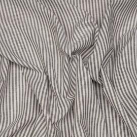Tissu coton et lin blanc à motif tissées rayures 4mm olive X 10 CM