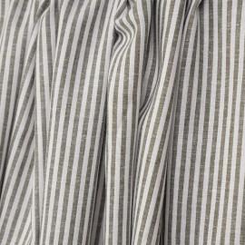 Tissu coton et lin blanc à motif tissées rayures 4mm olive - pretty mercerie - mercerie en ligne