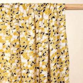 Tissu viscose moutarde à fleurs noires et blanches - pretty mercerie -mercerie en ligne