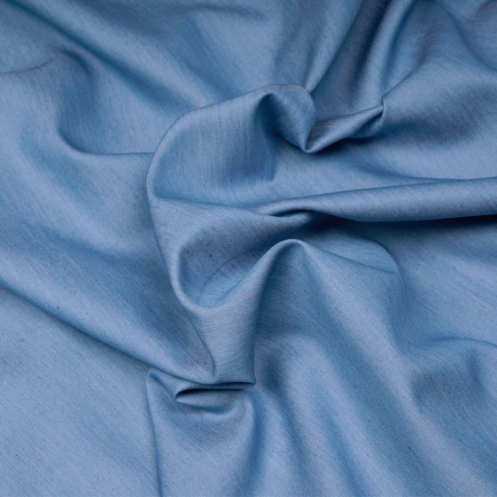 Tissu tencel et coton effet denim bleu cerulean - pretty mercerie - mercerie en ligne
