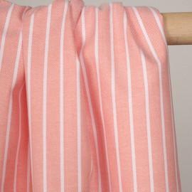 Tissu oxford persimmon à rayures blanches - pretty mercerie - mercerie en ligne