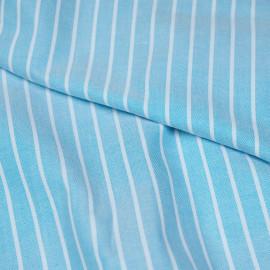Tissu oxford bleu horizon à rayures blanches - pretty mercerie - mercerie en ligne