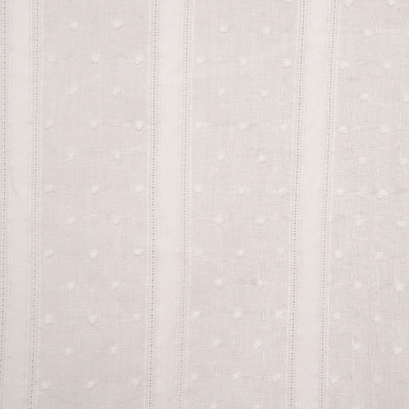 Tissu coton plumetis et bandes brodées blanc cassé - pretty mercerie - mercerie en ligne
