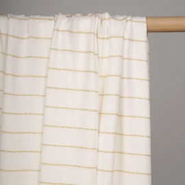 Tissu viscose blanc motif lignes tissées lurex or - pretty mercerie - mercerie en ligne