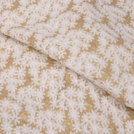 Tissu maille à motif fleurs brodés et glitter x 10cm