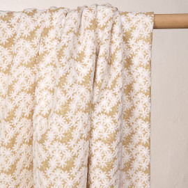 Tissu maille à motif fleurs brodés et glitter - pretty mercerie - mercerie en ligne