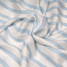 Tissu viscose blanc rayé bleu ciel et fil argent x 10 cm
